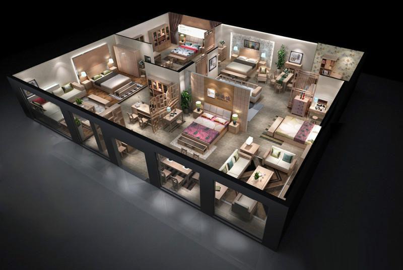 未来家居展厅概念 家具展厅设计效果图