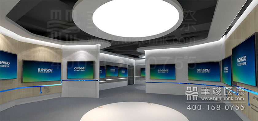 科技展厅设计案例          天花灯饰采用圆形装饰,与墙面线条相呼应.